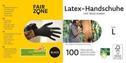 FAIR ZONE - Sorte Latex Handsker Str. L de er Certificeret FAIR RUBBER