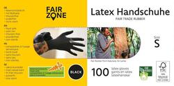 FAIR ZONE - Sorte Latex Handsker Str. S de er Certificeret FAIR RUBBER