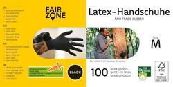 FAIR ZONE - Sorte Latex Handsker Str. M de er Certificeret FAIR RUBBER